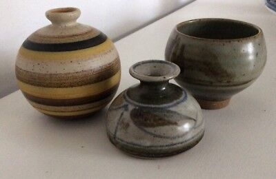 3 X studio pottery Vases All Signed