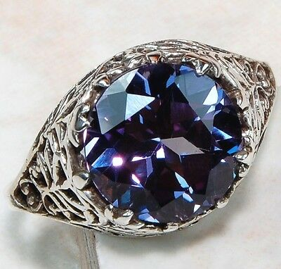 3CT Color Changing Alexandrite 925 Solid Sterling Silver Filigree Ring Sz 8