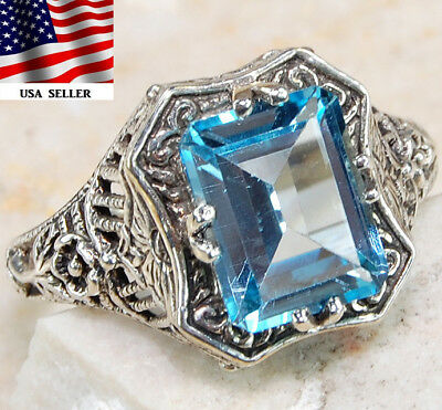 3CT Aquamarine 925 Solid Sterling Silver Art Deco Filigree Ring Sz 7