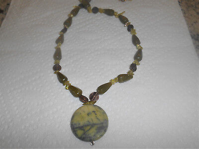 26 inch pendant necklace with olive green round pendant