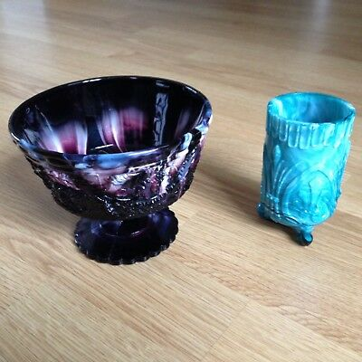 TWO AMETHYST  BOWL AND VASE SLAG GLASS English 19th Century