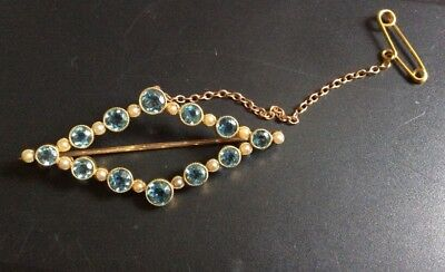 Vintage 15ct Gold Aquamarine & Seed Pearl Brooch 5.4g Safety Chain