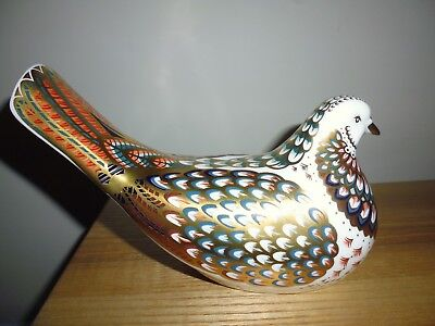 "Royal Crown Derby ""Turtle Dove"" paperweight. Gold stopper, boxed. Now retired."