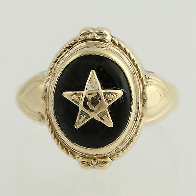 Vintage OES Onyx Ring - 10k Yellow Gold Women's Size 5 Masonic