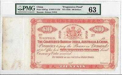 The Chartered Bank of India, Australia & China, Tientsin- $100, 19xx. Sp. PMG 63