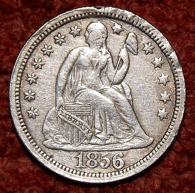1856 USA .900 Silver Seated Liberty Dime Collectible Grade & Detail