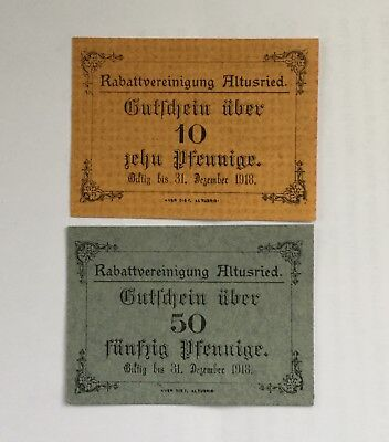 German Notgeld:2 private notes from Altusried