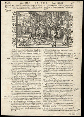 1578 1st Edition Bible Leaf Genesis 41-42 Woodcut Jacob & Sons During Famine