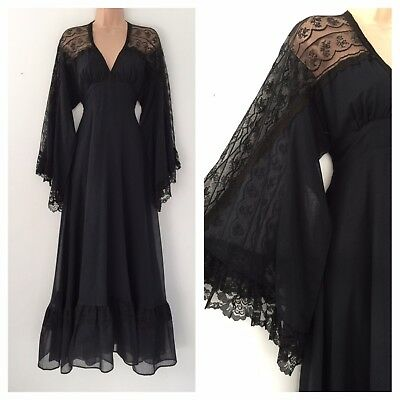 Vintage 70's Gunne Sax Black Cotton Lace Detail Boho Flared Sleeve Maxi Dress 8