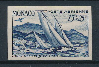 [97161] Monaco 1948 Boats good imperforated Airmail stamp Very Fine MH signed