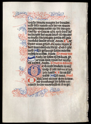 1475 Illuminated Dutch Book of Hours Leaf Vellum Exquisite Pen Work Delft