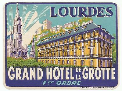 GRAND HOTEL GROTTE luggage label (LOURDES)