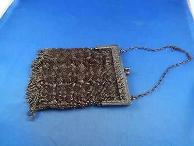 Purse Clutch Brown Bead Fringe Brass Frame Chain Handle Vintage
