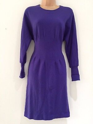 Vintage 80's Retro Purple Wool Jersey Fitted Winter Work Office Day Dress 10