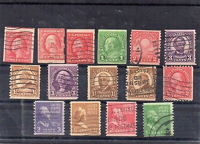 USA - used early Imperf and Coil stamps x 15