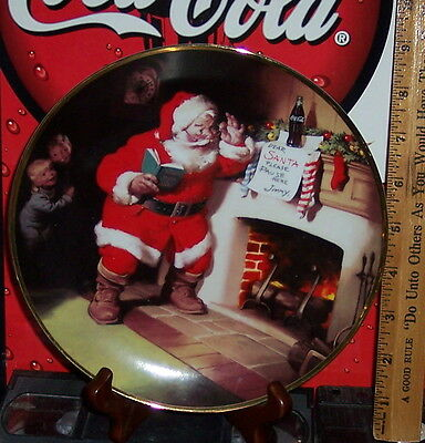 Franklin Mint Haddon Sunbloom Santa The Pause That Refreshes Collector's Plate