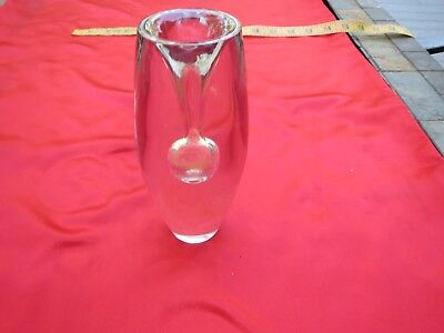 Vintage Crystal Art Glass Bud Vase; Signed