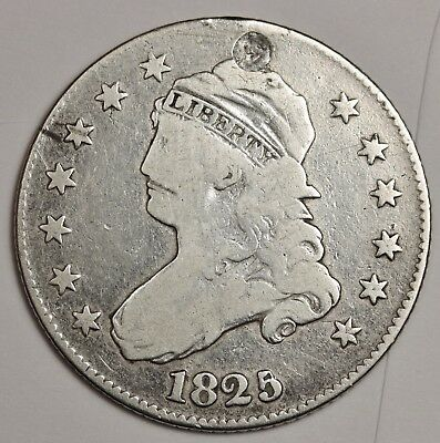 1825/4 Bust Quarter.  Fine Detail  Holed.  117668