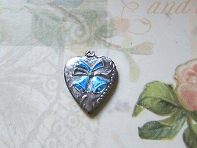 Vintage Sterling silver enameled puffy heart charm- BELLS