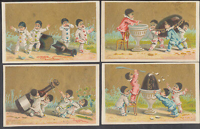 A 1716  Victorian Blank Advertising Cards: Set of 4 Mini Pierrot