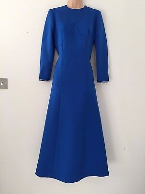 Vintage 70's Royal Blue Faux Pearl Detail Cuffs Occasion Evening Midi Dress 14