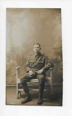 Real Photo Postcard Pte Northamptonshire Regiment 1917 Cloth Shoulder Titles
