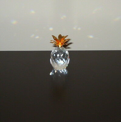 "Swarovski Crystal Figurine ""SMALL GOLD LEAF PINEAPPLE"" 7507 060 002"