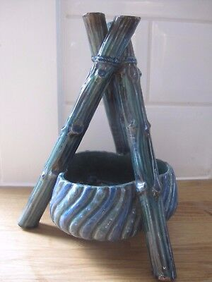 RARE Brannam 1880s green tripod camping bamboo stand, pot, bowl Stanley Williams