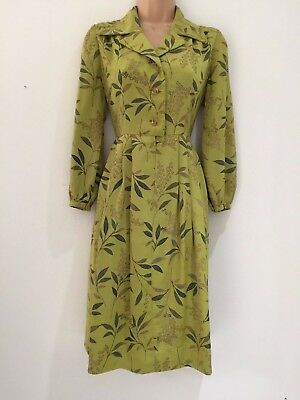 Japanese Vintage 80's Green Grey & Brown Leaf Print Belted Pleated Day Dress 12