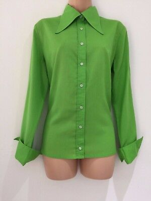 Vintage 1970's Retro Green Cotton Pointed Collar Long Sleeve Shirt Size 16