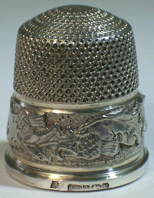 Swann Thimbles Sterling Silver Scottish Thistles Thimble, Birmingham 1992