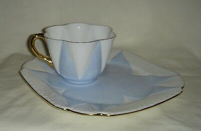 Rare Vintage Shelley Dainty Blue, White & Gold Gilt Cup & Square Saucer (Tv Set)