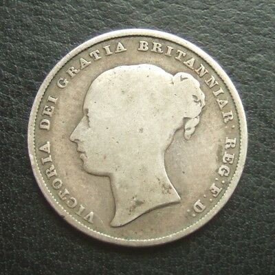 1839 One Shilling : Queen Victoria Young Head Sterling Silver Coin