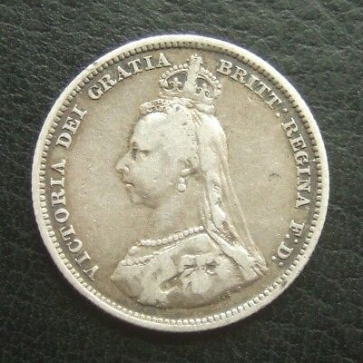 1887 One Shilling : Queen Victoria Jubilee Head Sterling Silver Coin
