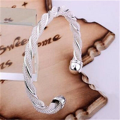 FREE P&P WOMEN 925SOLID silver Jewellry GORGEOUS Resizable Xmas Bangle Bracelet
