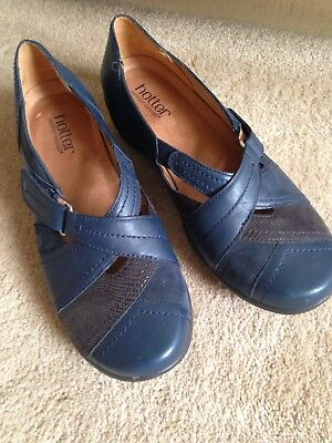 Hotter Navy Flat Shoes Size 4.5 Never Worn