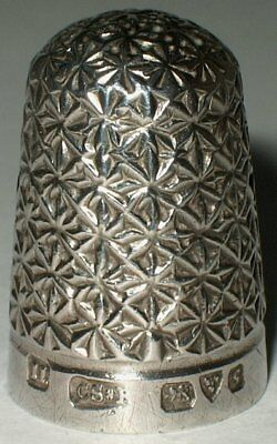 Saunders & Shepherd Sterling Silver Thimble, Louise Pattern, Chester 1907