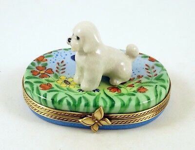New French Limoges Box Cute Bichon Frise Dog Puppy In Colorful Butterfly Garden