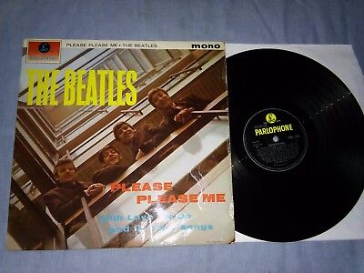 THE BEATLES< please please me>1963- EARLY UK PRESS -BLACK & YELLOW -MONO -EX