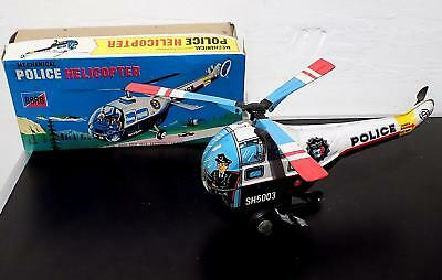 Vintage Tinplate Clockwork Police Helicopter, Made in Korea, VGiB, As Found
