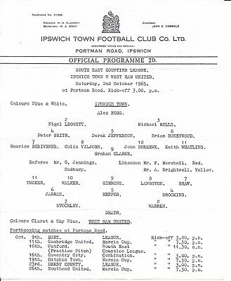 Ipswich Town v West Ham United South East Counties League 1965/66 Single sheet