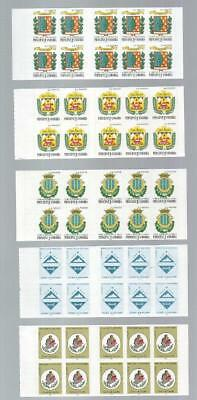 (A35) French Andorra 5 Complete Booklets Mnh Unfolded