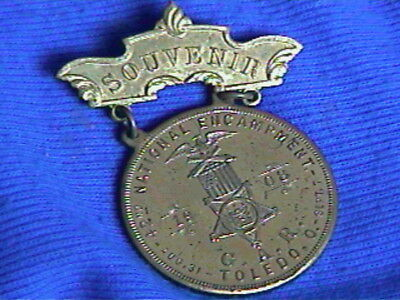 1909 G.A.R. Medal-PIN-42nd National Encampment-Toledo OH-very shiny gold-2.25 in