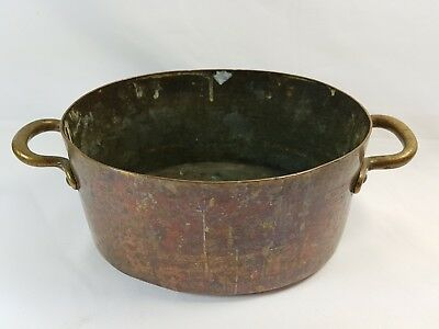 Antique Copper & Brass Small Jam Pan Planter Signed S.R. Price London Dovetailed