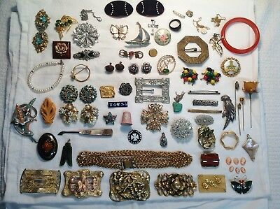 80 Piece Antique Victorian Jewelry~ Gold Filled Sterling,pins,clips-More