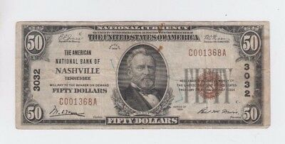 National Currency $50 1929-I Nashville Tennessee  vg-fine stains