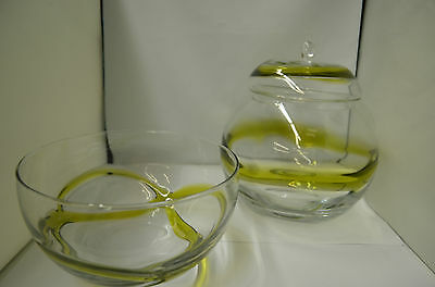 Hand Blown Mid Century Modern Lidded Cookie Jar and Bowl