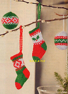 Knitting Pattern To Make Christmas Tree Decorations Trim Baubles Stockings