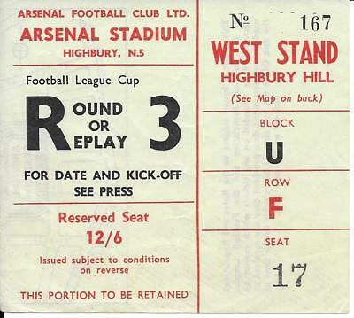 Ticket Arsenal v Reading League Cup 4th Round 1967/68