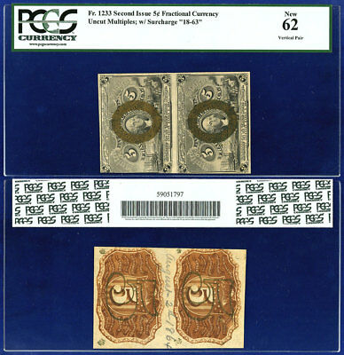 USA 5¢ FRACTIONAL CURRENCY Fr 1233 VERTICAL PAIR PCGS NEW 62
